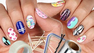 10 Nail Art Designs Using HOUSEHOLD ITEMS! | The Ultimate Guide #5