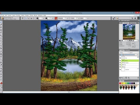 Evergreen Lake Painting