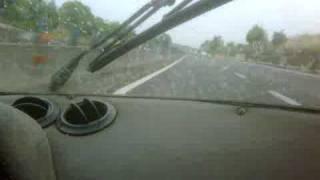1973 Lancia Stratos at speed on wet motorway