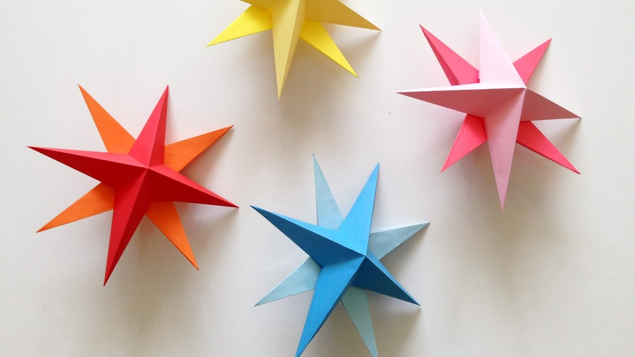 diy hanging paper 3d star tutorial for christmas, birthday, party