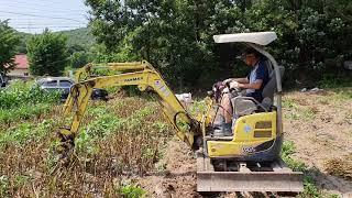 미니포크레인 마늘 수확