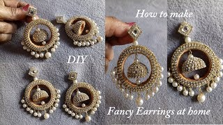 DIY || How To Make Designer Fancy Bridal Earrings at Home || Bridal Jhumka Earrings Tutorial