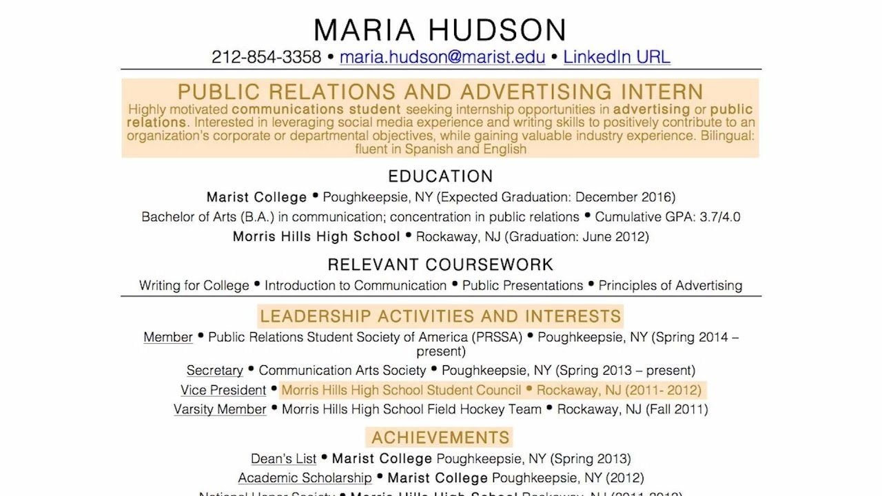 the perfect resume for someone with no experience youtube - Advertising Internship Resume