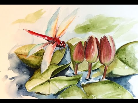 Watercolor Lilies and Dragonfly II Painting Demonstration