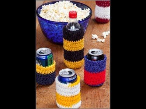 Crochet Can Cozies Crochet Can Cozy Crochet Red Heart Pattern