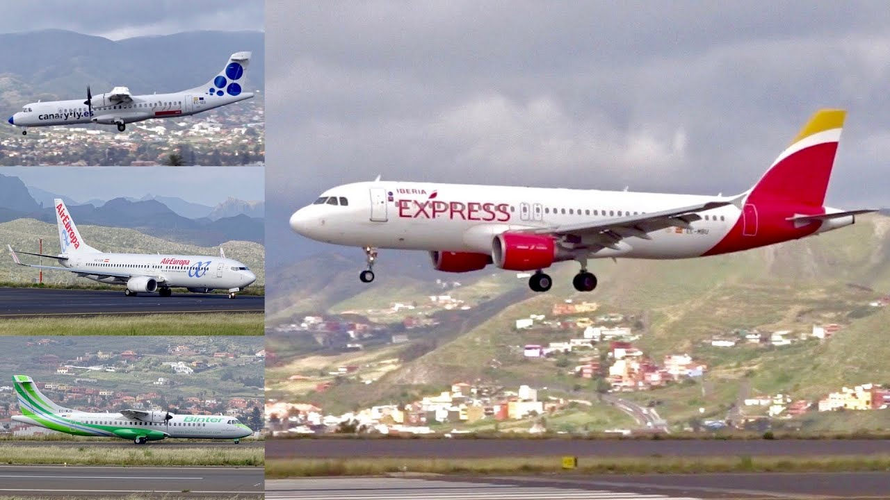SPECTACULAR planespotting at Tenerife North Airport | A320, B737, ATR72, …  | stunning landscape