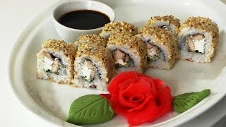 Как сделать Ролл с курицей и кунжутом.  Roll with chicken and sesame seeds.