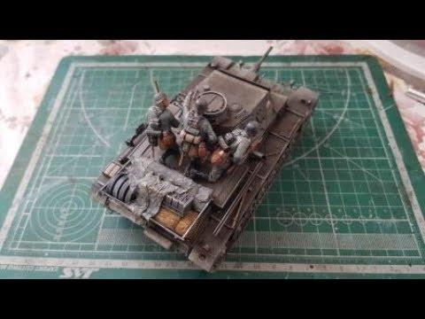 Сборка модели Звезда 3549 - Самоходка Штурмгешутц III (StuG III Ausf.F) - шаг 5. Панцергренадеры, корзина, запыление