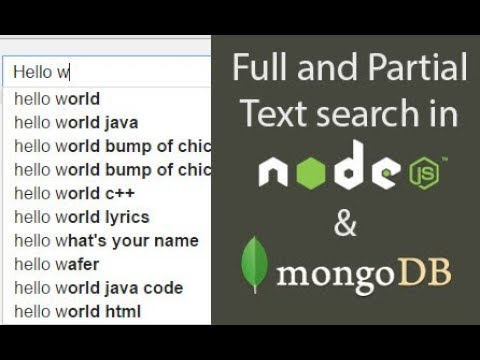 Partial and Full text Search in mongodb and node.js