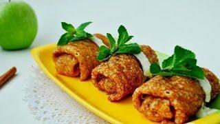 Блинчики с яблоками в ванильном соусе  Пошаговый рецепт с фото