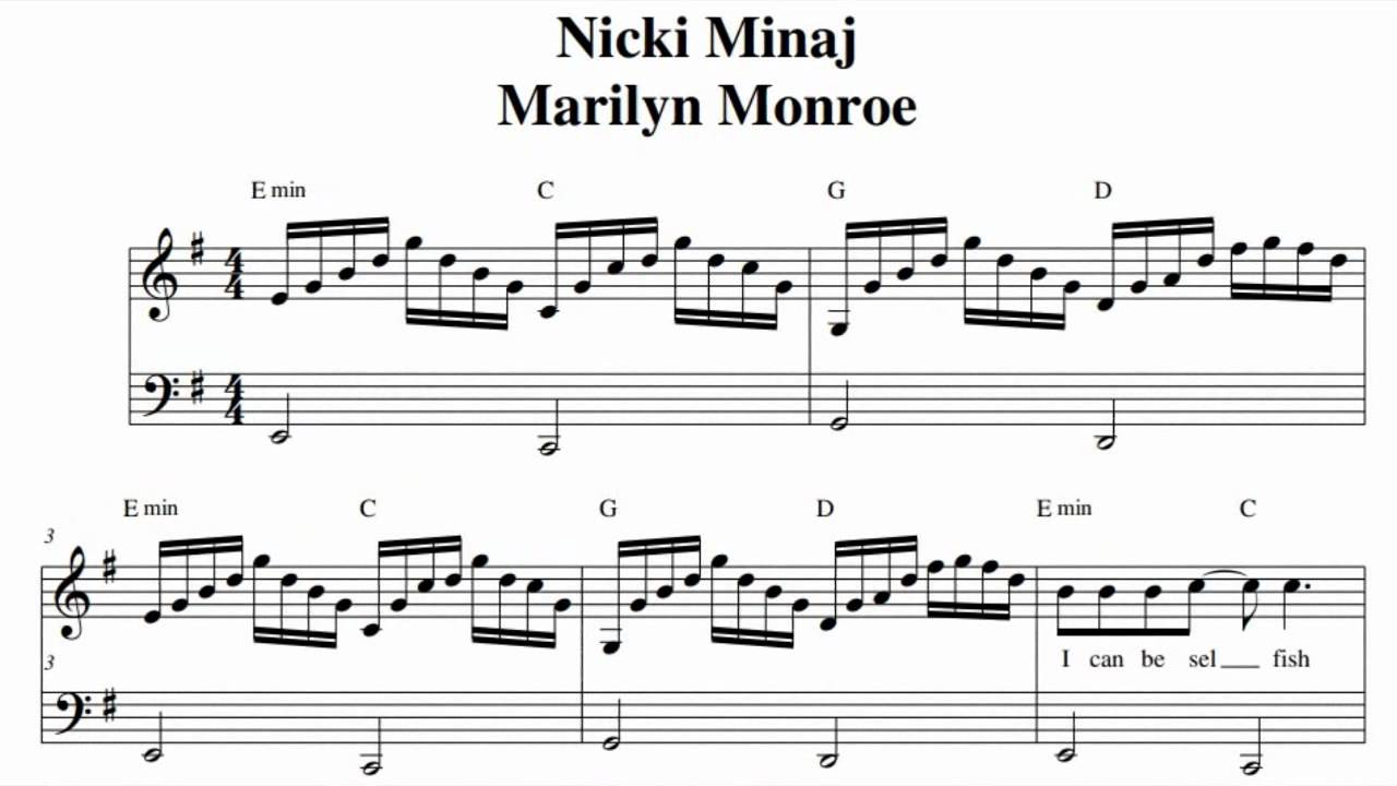 Citaten Marilyn Monroe Chord : Nicki minaj marilyn monroe music sheet youtube