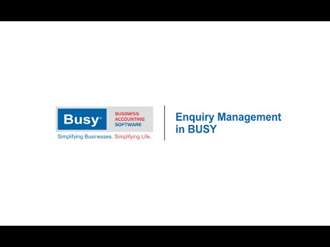 Enquiry Management in BUSY (English)