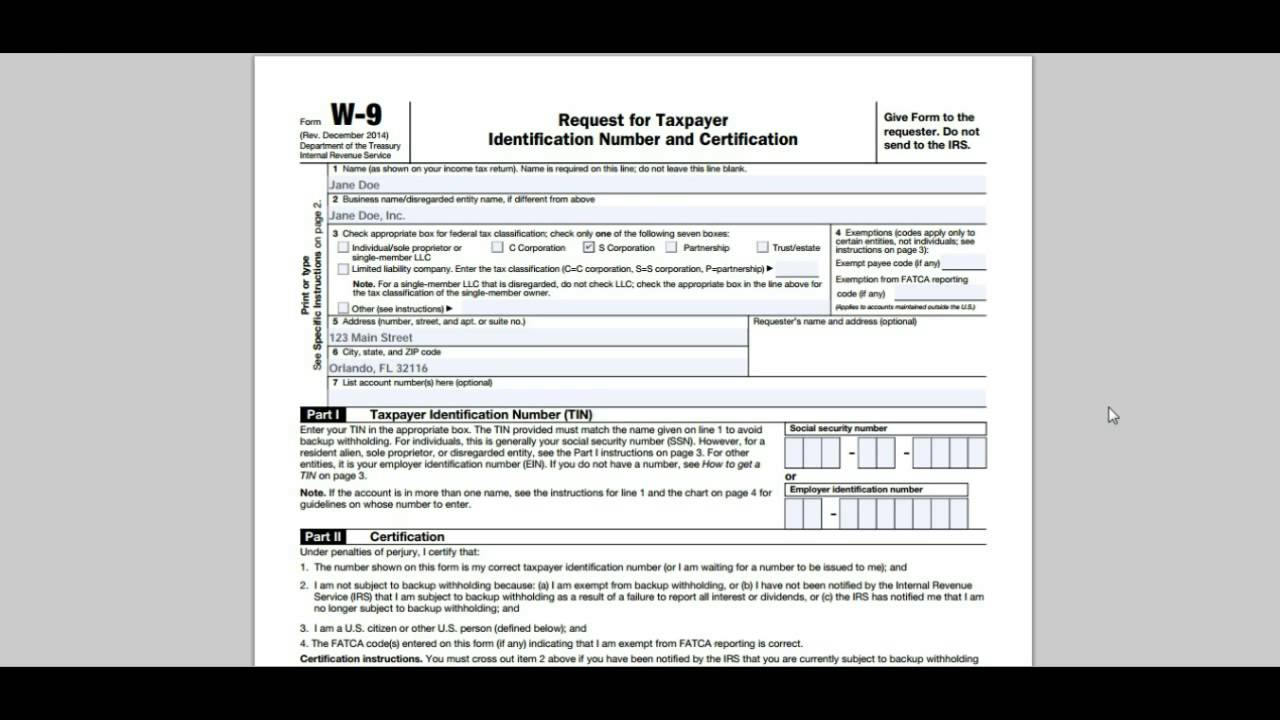 How To Prepare A W9 Tax Form - YouTube