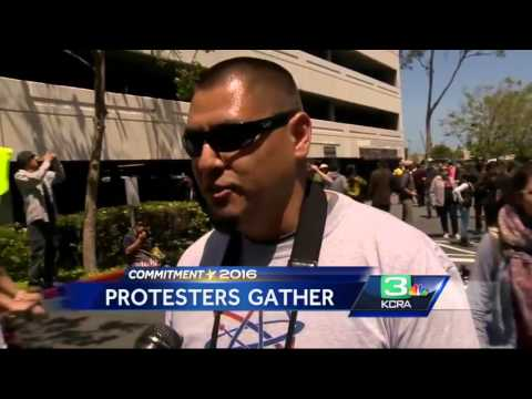 Hundreds Protest Outside California GOP Convention