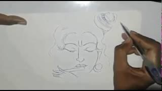 How to draw Lord Sri Krishna art