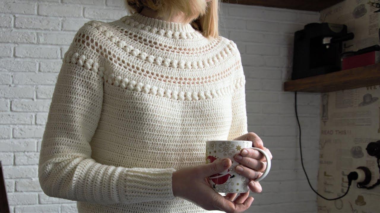 Теплый Свитер крючком. Мастер-класс. Warm Crochet Sweater Tutorial