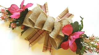 EASY BURLAP BOW TUTORIAL | DOLLAR TREE DIY | SPRING CRAFTS | WREATH SWAG