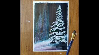 Christmas Tree covered in snow Painting