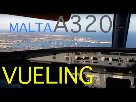 Cockpit Landing Malta RWY31 manual!! Vueling Airlines A320