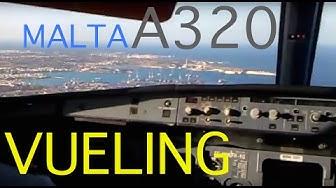 A320 Landing Malta RWY31 manual!! Vueling Airlines