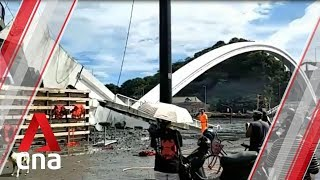The moment a bridge collapsed into a harbour in Taiwan