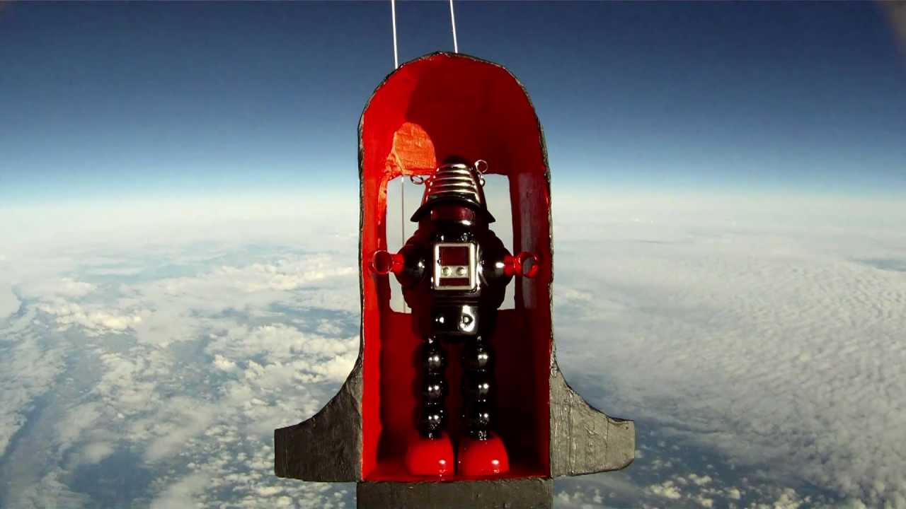 Toy Robot in Space  HD balloon flight to 95000ft  YouTube