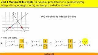 Matura z matematyki 2014 odpowiedzi - zad 1 - Układy równań - Matfiz24.pl