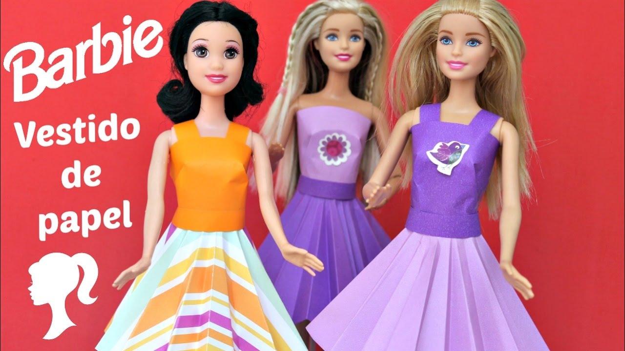 Como Fazer Vestido De Papel Para Barbie Brincar Kids Toys Youtube