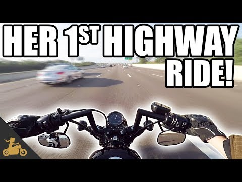 Ms. Blockheads FIRST Ride on the Highway! - Harley Sportster 48