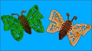 Бабочка крючком. Бабочка по схеме. Вязание по схеме крючком. Часть 2. (crochet butterfly. P. 2)
