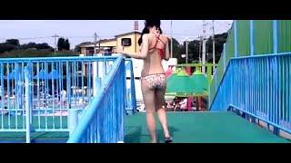 Asian Japanese Tennis Player tries FULL FIGURED SWIMSUIT BIKINI - School girls in uniform swimwear