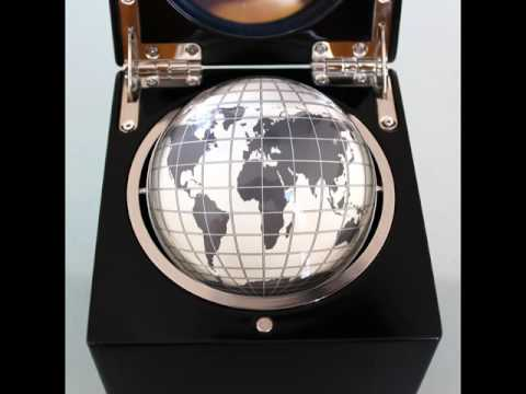 PHOTOSHOOT QUALITY Rolling Ball Globe Mantel TOP!! Clock Watch HEAVY Box High Gloss!! Desk