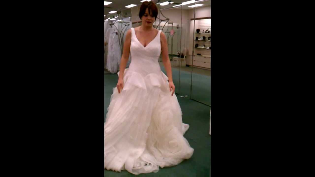 David Bridal V Neck Ball Gown With Fully Draped Skirt