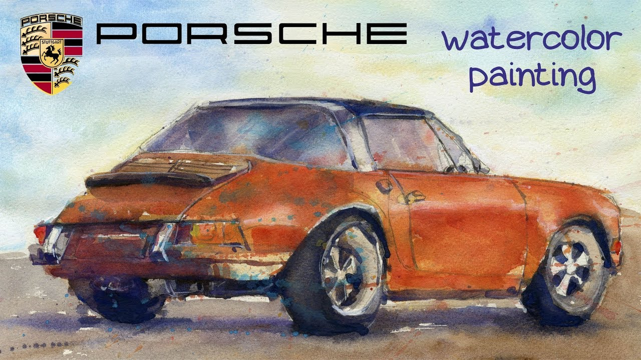 PORSCHE 911 watercolor painting