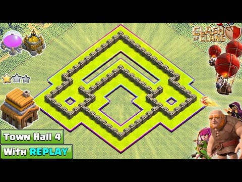 New BEST Town Hall 4 (TH4) Base With REPLAY 2018 - Clash Of CLans