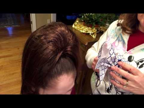 How to put on a cheer bow with a hair piece on