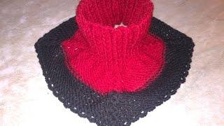 Вязание манишки спицами,как связать манишку на ребёнка+манишка для начинающих.Collar knitting