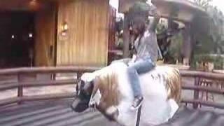 Linda riding mechanical bull
