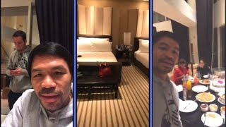 Manny Pacquiao Eats With Family and Shows Off Suite At MGM GRAND