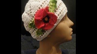 Шапочка Часть 3 Цветок + листок Вязание крючком Little cap Part 3 Flower + sheet Knitting by a hook