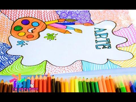 como dibujar caratulas para cuaderno de arte - YouTube