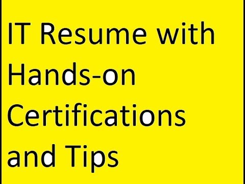 It Resume With HandsOn Certifications And Tips  Youtube