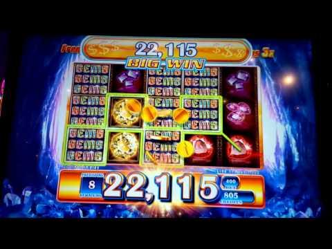 Gems Gems Gems Slot Machine Retrigger Bonus Round!
