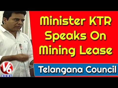 Minister KTR Speaks On Mining Lease | Telangana Council Meet | V6 News