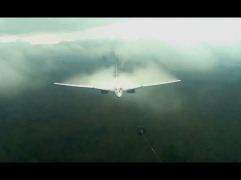 Tu-160 'The White Swan' vapor in stormy conditions