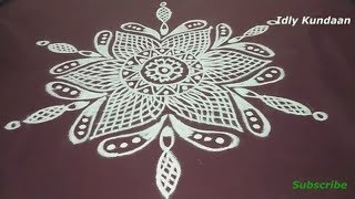 Freehand simple Kolam Design without Dots | Very Easy Rangoli Pattern | Muggulu Rangoli