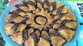 Пирог из завитушек с шоколадной пастой. Вкусная выпечка ко дню знаний для школьников!