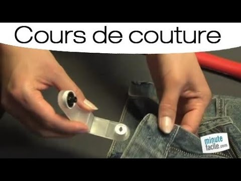 cours de couture remplacer le bouton d 39 un jean youtube. Black Bedroom Furniture Sets. Home Design Ideas