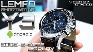 """Edge-2-Edge Screen? Smartwatch LEMFO Y3 ⌚ (In-Depth Review) 1.39"""" OLED, Leather Strap // by s7yler"""