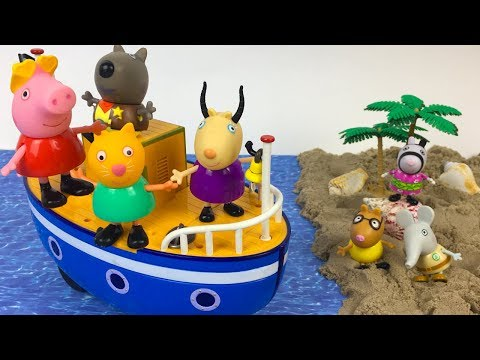 PEPPA PIG SCHOOL TRIP - THE CLASS GOES TO AN ISLAND AND SEARCHES FOR HIDDEN TREASURE AND VOLCANOES